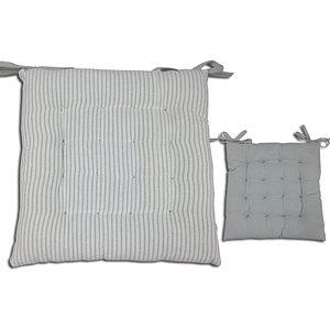 Galette de chaise 40x40 cm EDGAR grise et blanche