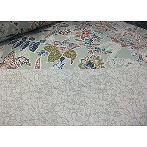 Tissu polyester boutis vert tendre motif fleuri