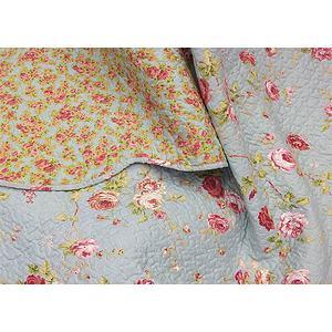 couvre lit boutis lolita 250x260 bleu ciel motif fleurs roses pour lit de 160 cm ebay. Black Bedroom Furniture Sets. Home Design Ideas