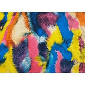 Tissu simili cuir imitation peluche multicolore