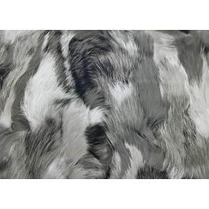 Tissu simili cuir imitation peluche grise et blanche