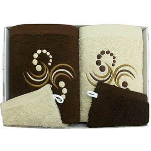 Coffret éponge 4 pièces marron et beige motif points arabesques