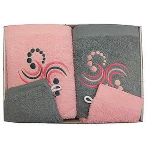 Coffret éponge 4 pièces gris et rose motif points arabesques