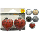 Lot 2 pinces à rideaux coeur en bois peint cérusé