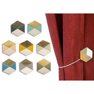 Embrasse magnétique hexagonale résine et bois