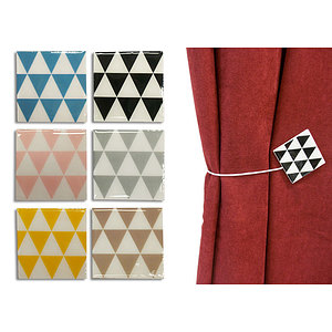 Embrasse magnétique carrée bois laqué motif triangle