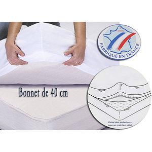 Protège matelas molletonnée forme housse bonnet de 40 cm