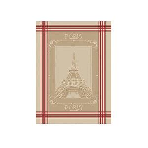 Torchon jacquard TOUR EIFFEL fond couleur lin à rayures rouges