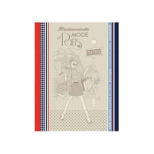 Torchon jacquard multicolore MADEMOISELLE A PARIS