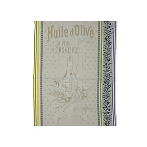 Torchon jacquard multicolore HUILE D'OLIVE