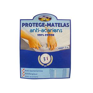 Protège matelas housse 100% coton anti-acariens bonnet 27 cm