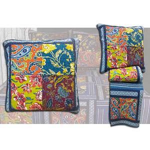Boutis patchwork bleu + 2 taies d'oreiller