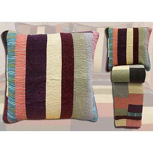 Boutis patchwork velours multicolore + 2 taies