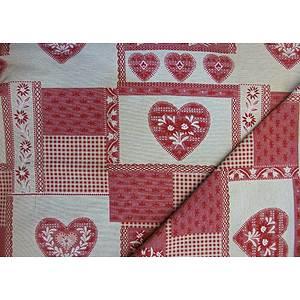 Tissu patchwork rouge et écru style montagne