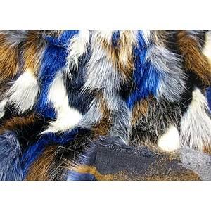 Tissu fausse fourrure multicolore bleu