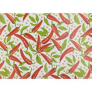 Toile cirée PVC 140 cm motif piments rouges