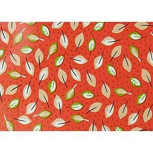 Toile cirée PVC 140 cm rouge motif petites feuilles beiges