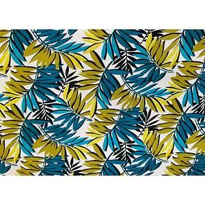 Toile cirée PVC 140 cm jungle bleu canard