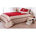 Couvre lit Boutis MARQUISE rouge et beige 230x250 lit deux places-Promotion Solde