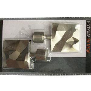 2 Embouts carrés bosselés décoratifs pour tringle à rideaux