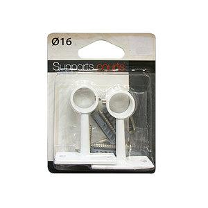2 supports blanc pour tringle ronde diamètre 16 mm