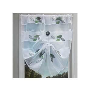 Petit rideau blanc motif feuilles vertes et grises