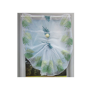 Petit rideau blanc motif jungle à feuillage exotique