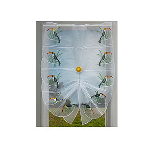 Petit rideau blanc brodé motif toucan