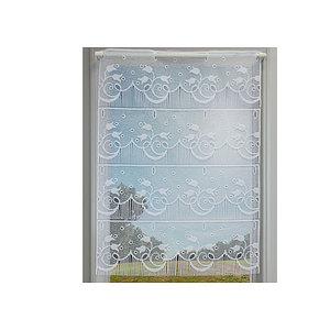Petit rideau blanc romantique brodé motif tulipes