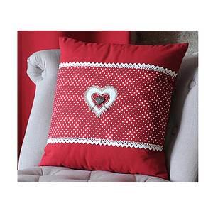 Coussin 40x40 cm LYNA rouge un coeur