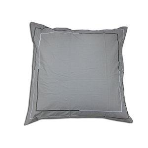Taie d'oreiller 65x65 percale grise 80 fils brodée point bourdon
