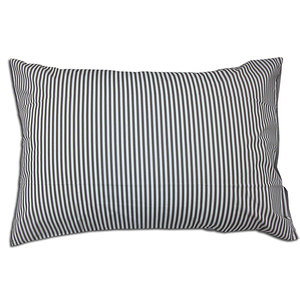 Taie d'oreiller 50x70 percale 80 fils rayée grise et blanche