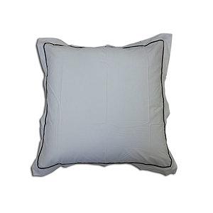 Taie d'oreiller 65x65cm percale blanche finition passepoil noir