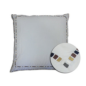 Taie d'oreiller 65x65 cm percale blanche brodée moderne marron