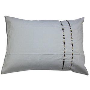 Taie d'oreiller 50x70 cm percale blanche brodée moderne marron