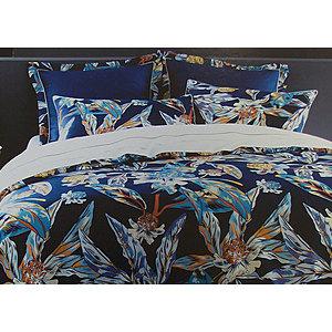 Housse de couette bleu canard feuillages et fleurs tropicales