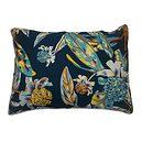 Taie d'oreiller 50x70 bleu canard feuillages et fleurs tropicales