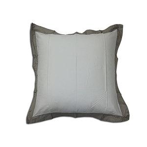 Taie d'oreiller 65x65 cm 100% satin de coton blanc à volant gris