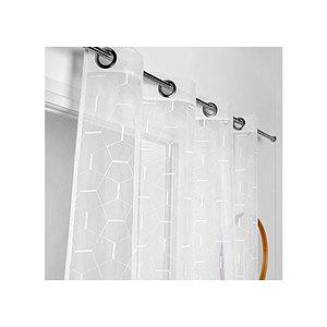 Voilage blanc PABLO brodé motif géométrique 140x260 cm