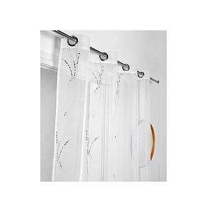 Voilage blanc GIONO brodé motif brins d'herbe 140x260 cm