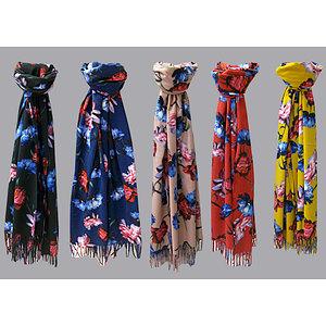 Echarpe chic motif floral multicolore
