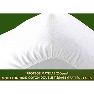 Protège matelas housse molleton 100% coton 250 g/m2 anti acariens