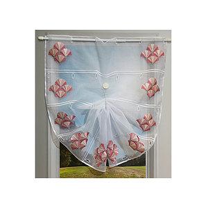 Petit rideau blanc Galice Ardeco rose