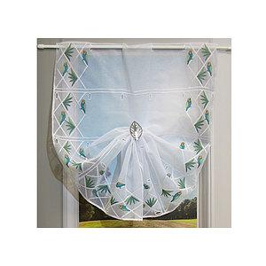 Petit rideau blanc brodé motif perroquet
