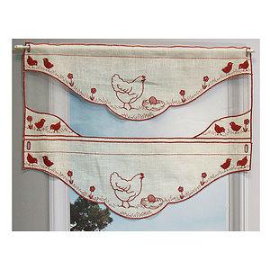 Petit rideau bi-matière motif Poule rouge