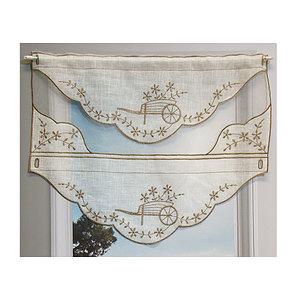 Petit rideau bi-matière motif brouette brodé de fil coloris taupe