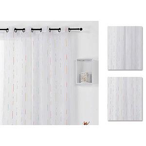 Voilage blanc motif batonnets multicolores 140x270 cm