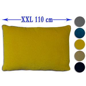 Coussin géant XXL 55x110 cm velours uni déhoussable
