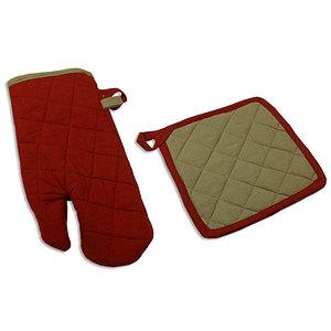 Ensemble gant et manique rouge et lin