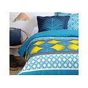 Parure de couette motifs graphiques Bona bleue